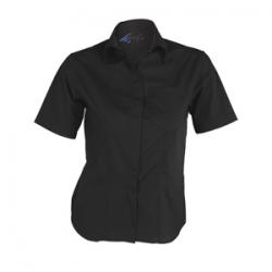 camisa-camarera-negra-manga-corta-boton-oculto