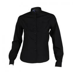 camisa-negra-camarera-manga-larga-boton-oculto