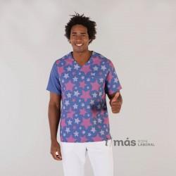 Blusa de pijama sanitario de microfibra estampada con estrellas, de tejido antibacteriano y antimanchas