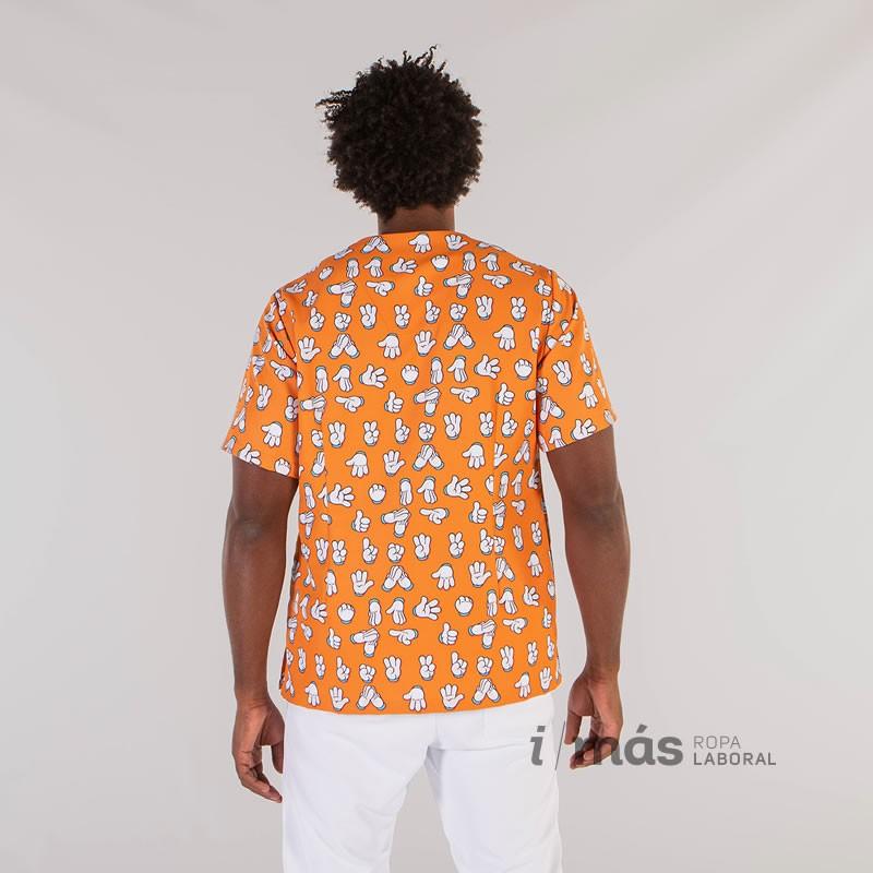 Blusa de pijama sanitario de microfibra estampada con guante, de tejido antibacteriano y antimanchas