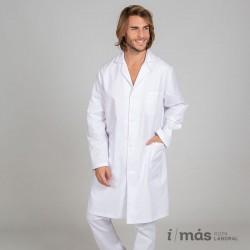 Bata de laboratorio o médico blanca clásica, unisex, sin puños
