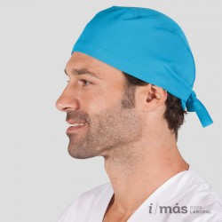 Gorro de quirófano con tiras ajustables tipo pirata en microfibra color azul turquesa