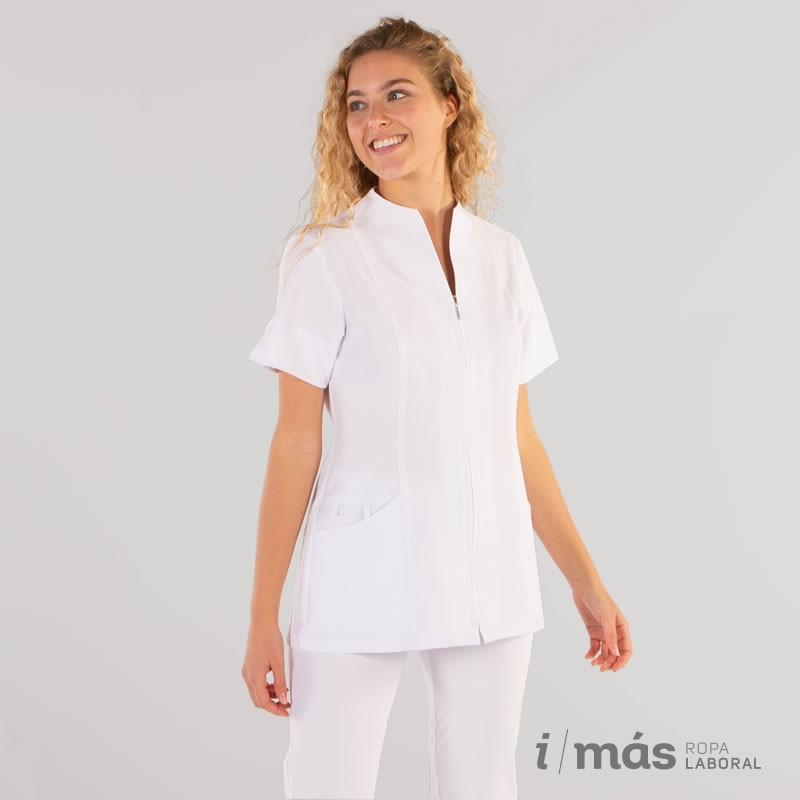 Blusa de sanidad corta con cremallera y manga corta en microfibra 360 color blanco