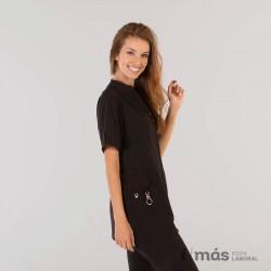 Blusa de sanidad corta con cremallera y manga corta en microfibra 360 color negro
