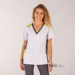 Blusa de mujer en microfibra elástica blanca con detalles en gris marengo y pistacho