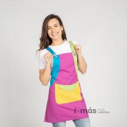 Casulla de maestra o profesora en colores multicromo. Sin estampados.