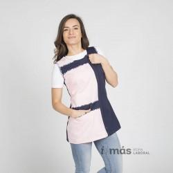 Bata de maestra sin mangas, blusa, en azul marino y rosa. Cierre en lateral mediante cremallera