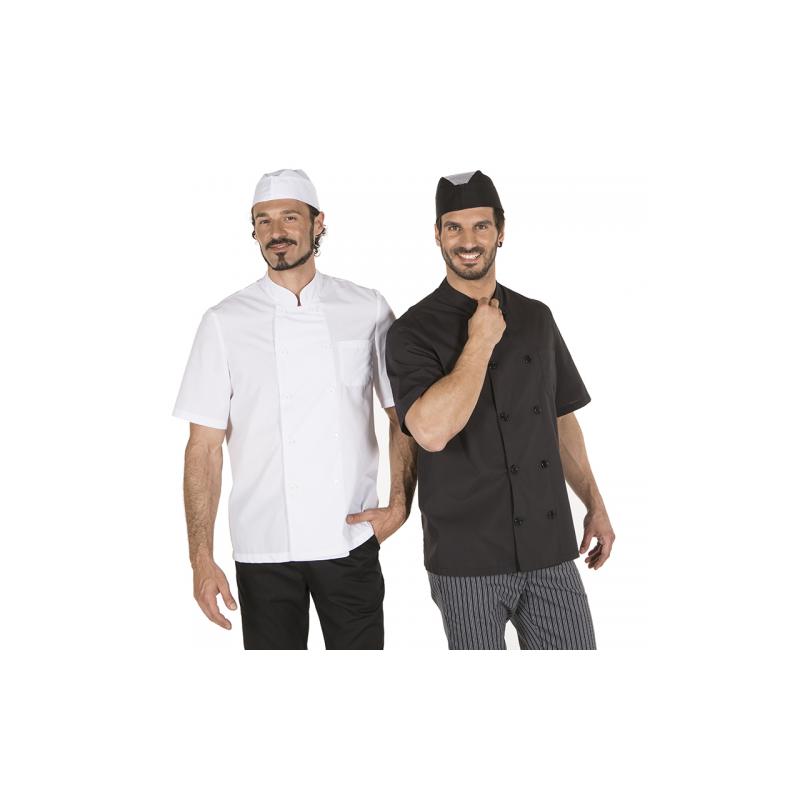 chaqueta-cocina-unisex-popelin-fino-negro-manga-corta